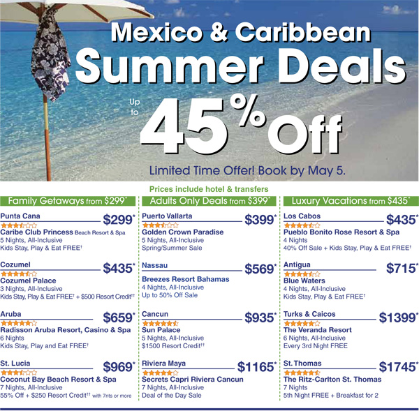 Summer Sale: Up To 45% Off Mexico & Caribbean Vacations